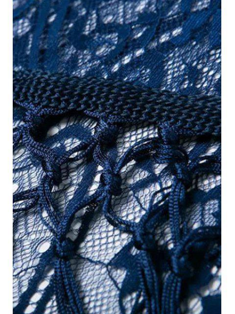 Kimono à encolure à manches longues - Bleu Foncé S Mobile