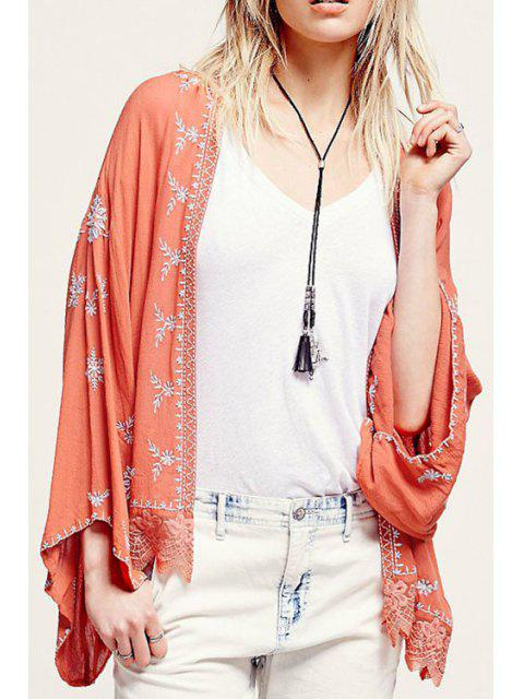 Chemisier en kimono brodé à manches longues - Tangerine M Mobile