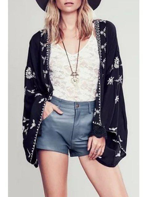 ladies Wide Sleeve Embroidered Kimono Blouse - BLACK L Mobile