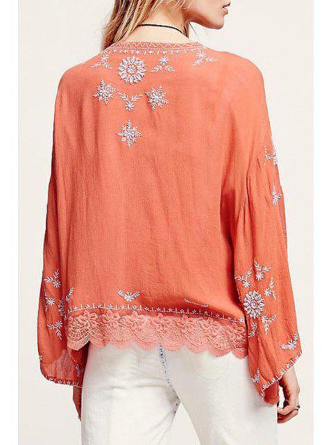 Chemisier en kimono brodé à manches longues - Tangerine S Mobile