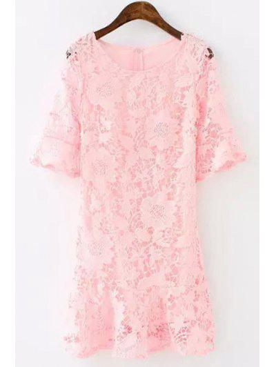 45f59883b4b4 Lace Floral Openwork Half Sleeve Dress - Pink M