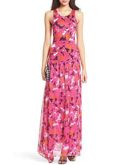 dc8799da3ff Scoop Neck Printed High Slit Sleeveless Dress - Rose Xl ...