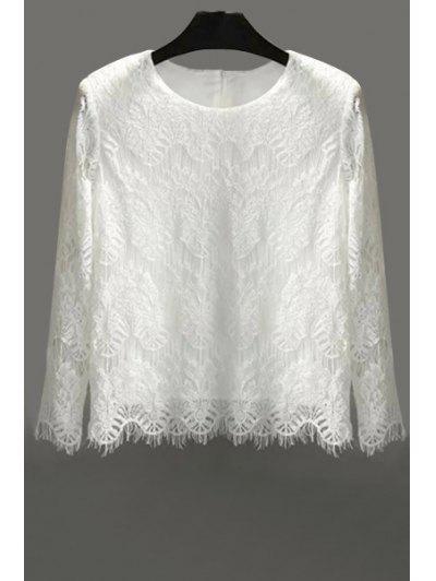 41a1642d9039e Lace Solid Color Long Sleeve Blouse - White M