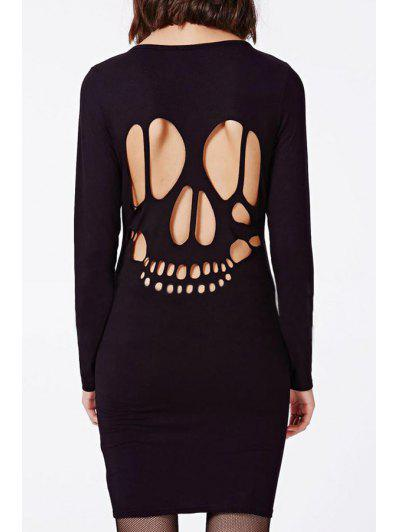 19aa767e29be Skull Pattern Long Sleeve Bodycon Dress - Black