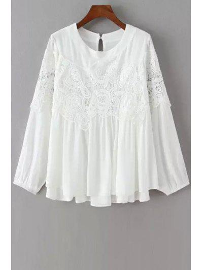 68cc447fae6b9 Lace Splicing Openwork Long Sleeve Blouse - White M