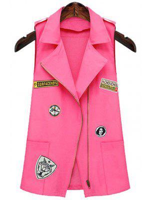 Epaulet Embellished Appliqued Pink Waistcoat