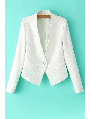 One Button Solid Color Long Sleeve Blazer