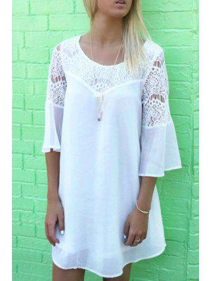 Openwork Lace Hook Chiffon Dress