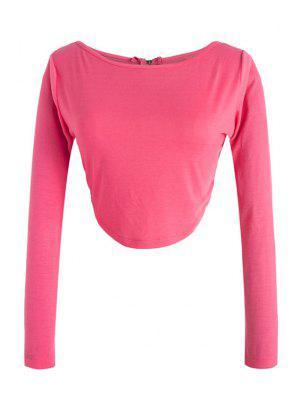 Long Sleeve Fitted Zipper Design Crop Top - Rose Xl