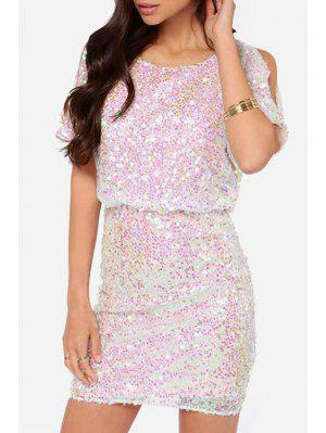 Scoop Neck Sequins Backless Short Sleeve Dress - White M