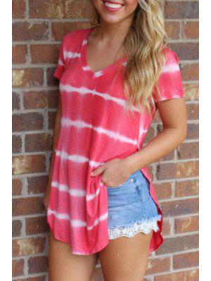 Tie-Dyed Irregular Hem T-Shirt - Rose L