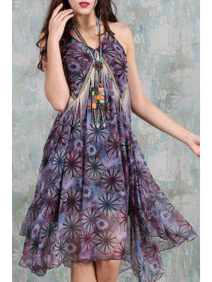 Spaghetti Strap Floral Asymmetric Chiffon Dress - Purple S