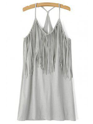 Spaghetti Strap Fringe Splicing Faux Suede Dress - Gray S