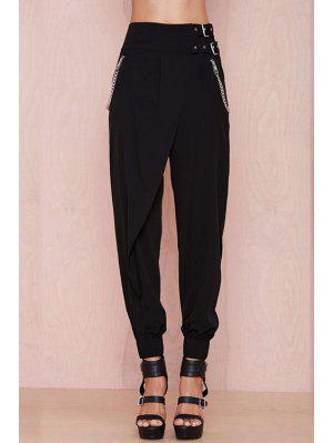Black High Waisted Narrow Feet Pants - Black S