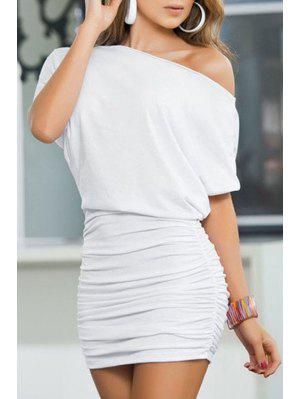 One Shoulder Solid Color Ruffle Half Sleeve Dress