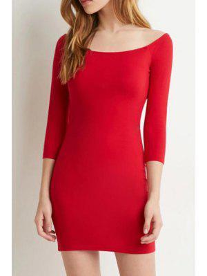 Slash Neck Solid Color 3/4 Sleeve Dress - Red L