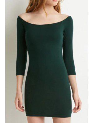 Slash Neck Solid Color 3/4 Sleeve Dress - Green Xl