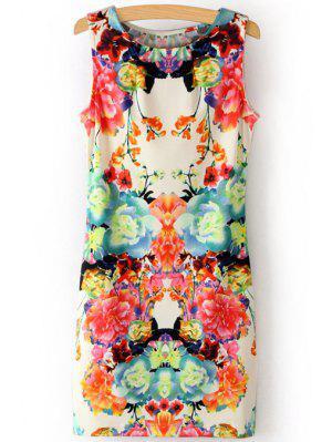 Scoop Neck Flower Print Sundress - S