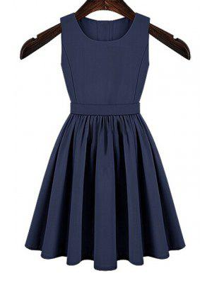 Solid Color Cut Out Button Dress - Blue Xl