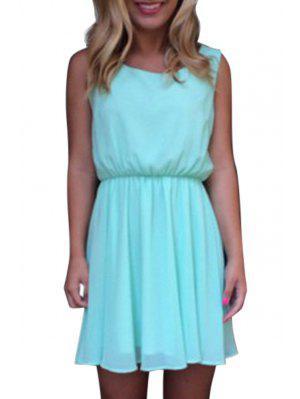 Lace Spliced Openwork Chiffon Dress - Lake Blue L