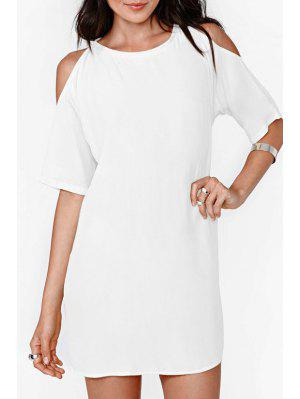 Solid Color Cut Out Chiffon Dress - White 2xl