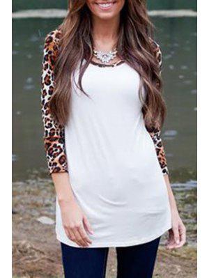 Leopard Print Spliced 3/4 Sleeves T-Shirt - White Xl