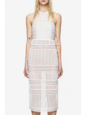 Round Neck See-Through Stripe Sleeveless Dress - White M