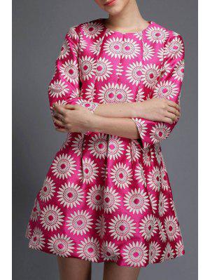 3/4 Sleeve Sunflower A-Line Dress - Rose L