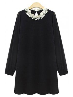 Long Sleeve Beaded Chiffon Dress