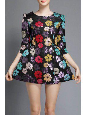 Three Quarter Sleeve Floral A-Line Dress - Black M
