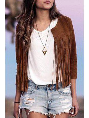 Three Quarter Sleeve Tassels Coat