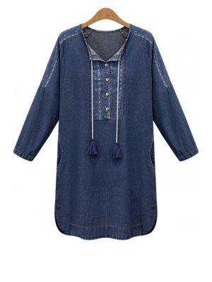 Argyle Print Long Sleeve Denim Dress