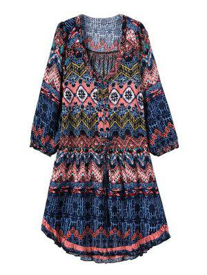 Three Quarter Sleeve Printed Tunic Dress - Blue M