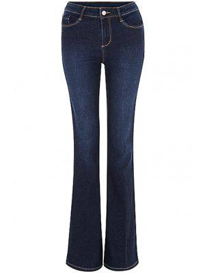 Blue Faded Flared Jeans - Deep Blue Xl