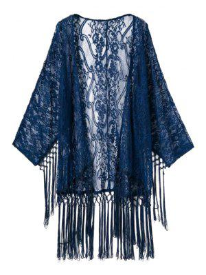 Lace Long Sleeve See-Through Kimono - Deep Blue S