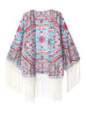 Fleurs Imprimer Kimono à Manches Longues - S