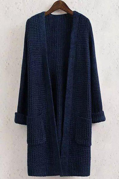 Solid Color Pocket Long Sleeve Collarless Cardigan - PURPLISH BLUE M