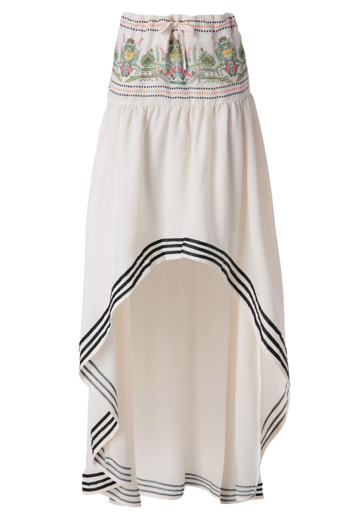 30 Off 2020 Ethnic Pattern High Low Skirt In Off White Zaful