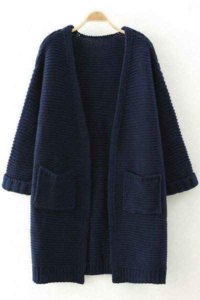 Pure Color Long Sleeves Pocket Cardigan 145176201