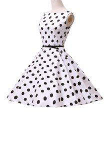 Polka Dot Ball Gown Midi Dress - White Xl