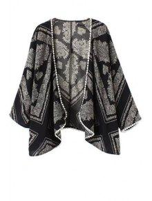 Lace Edging Paisley Print Long Sleeve Blouse - Black And Grey S
