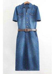 Denim Turn Collar Short Sleeve Dress - PURPLISH BLUE XL