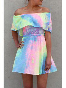 Tie Dye A Line Slash Neck Dress - L