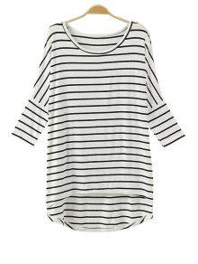 Batwing Sleeve Striped Irregular Hem T-Shirt - White
