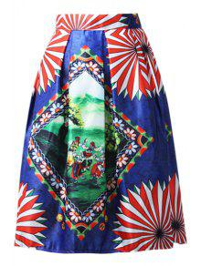 A-Line Cartoon Print Stripes Midi Skirt - Blue