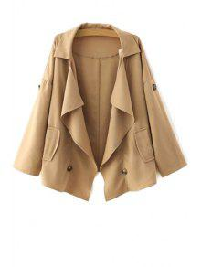 Loose-Fitting Buttons Long Sleeve Trench Coat - Khaki S