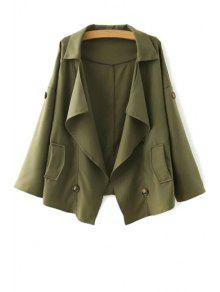 Loose-Fitting Buttons Long Sleeve Trench Coat - Army Green L