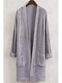 Solid Color Pocket Long Sleeve Collarless Cardigan - GRAY L