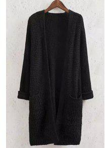 Solid Color Pocket Long Sleeve Collarless Cardigan - Black M