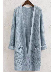 Buy Solid Color Pocket Long Sleeve Collarless Cardigan - BLUE S